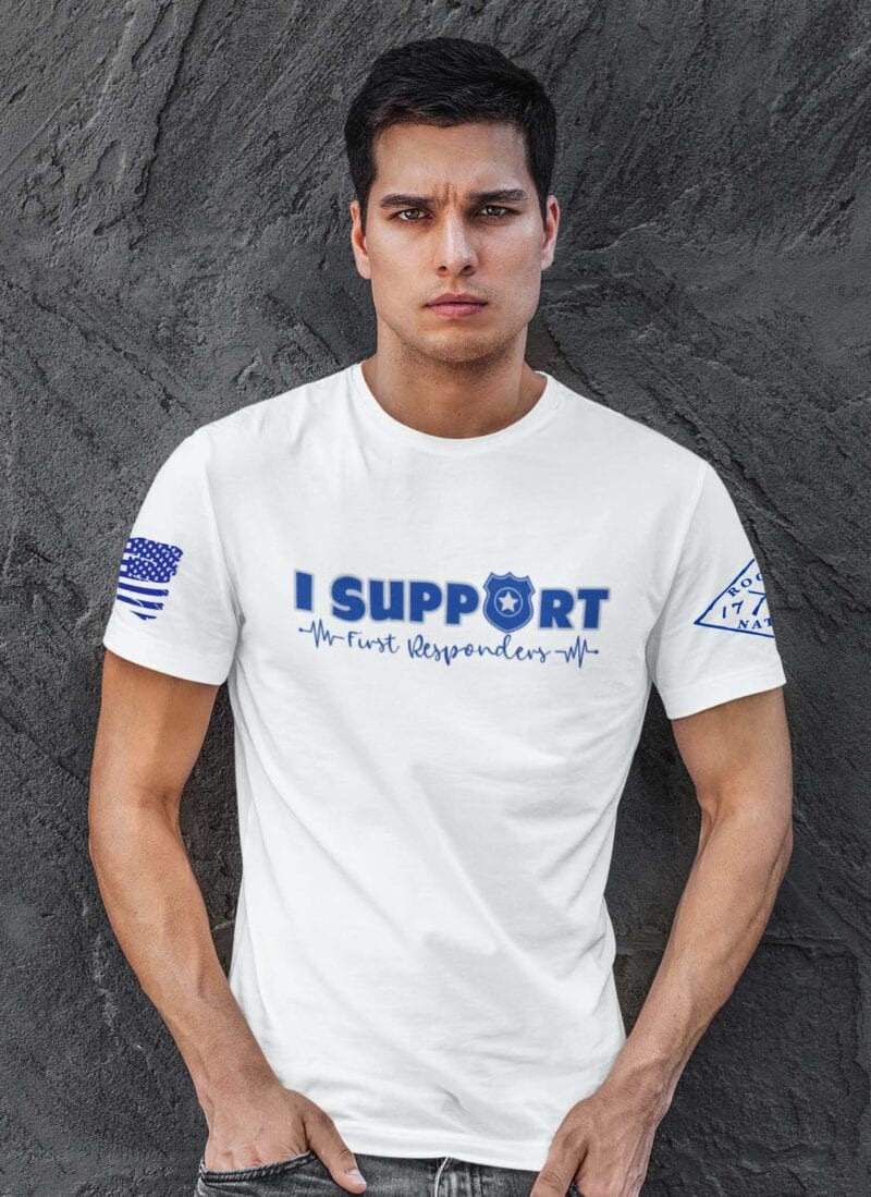 Support the Blue on Men;s White T-Shirt