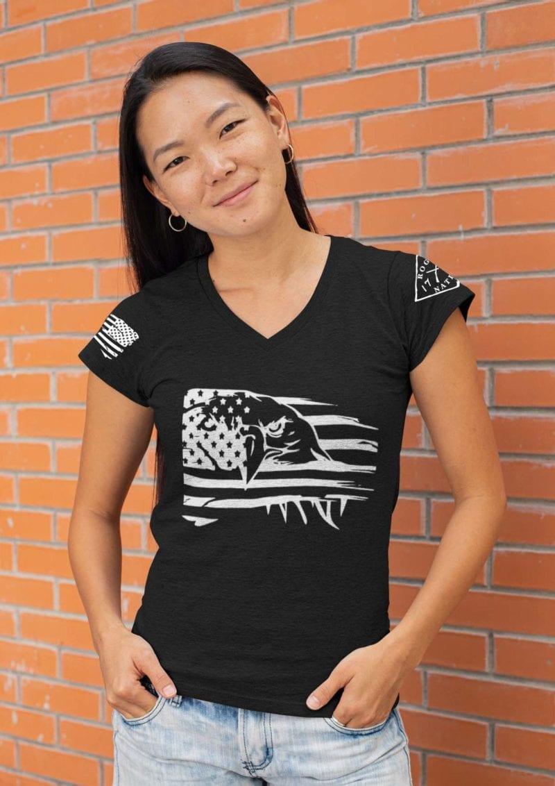 Eagle Pride on Womens Heather Black V-neck