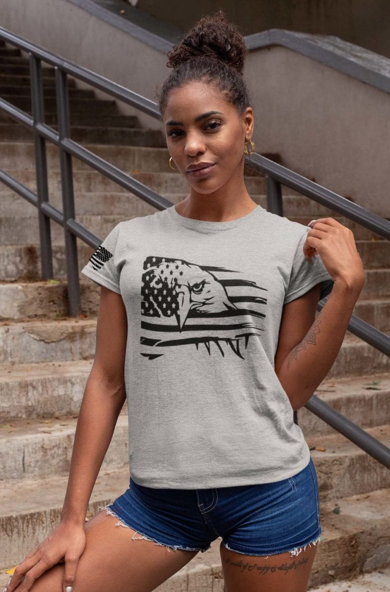 Eagle Pride on women's Light heather grey tshirt