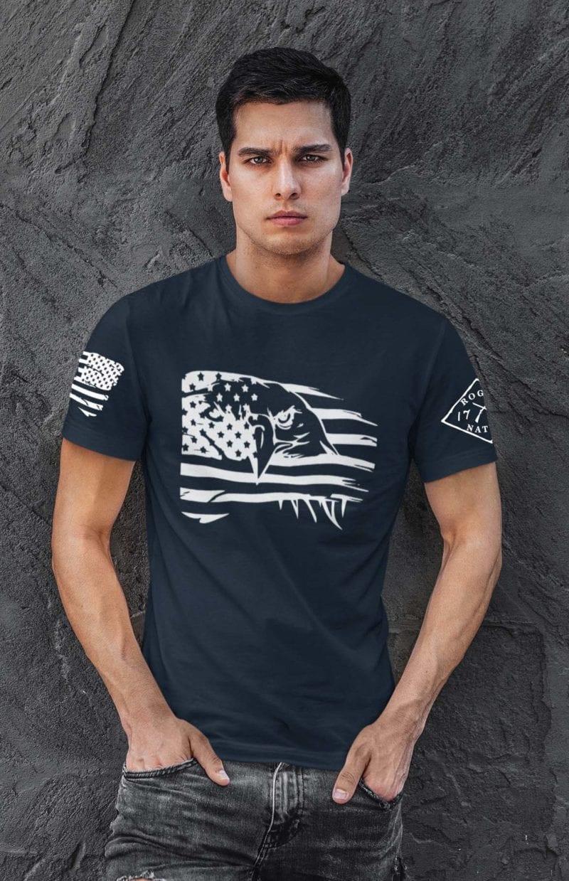 Eagle Pride on Mens Navy Blue Tshirt