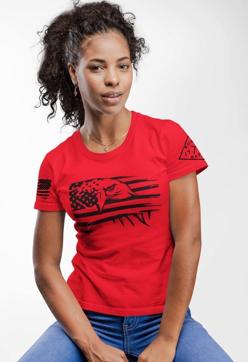 Eagle Pride on Womens Red Tshirt