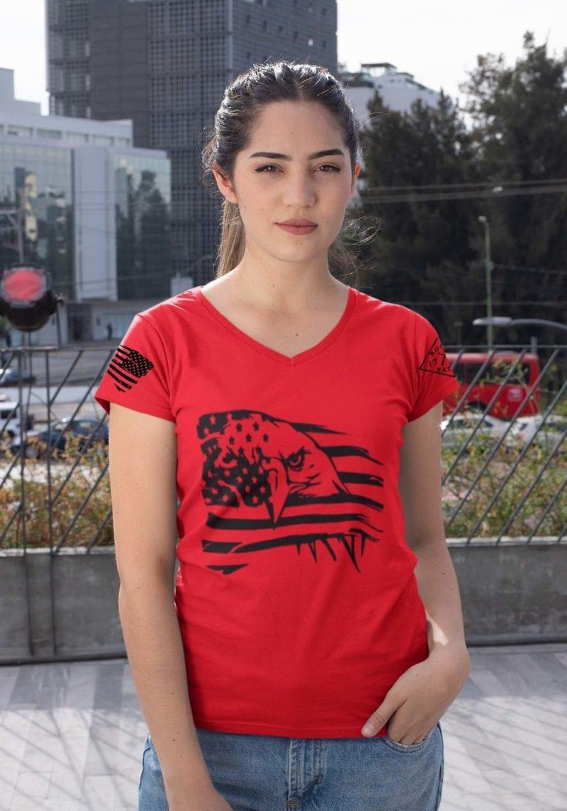 Eagle Pride on Womens Red V-Neck
