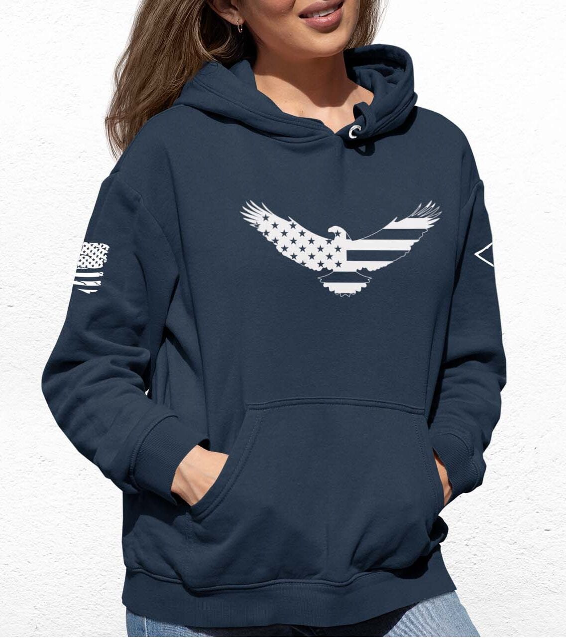American Eagle on a Slate Blue Hoodie