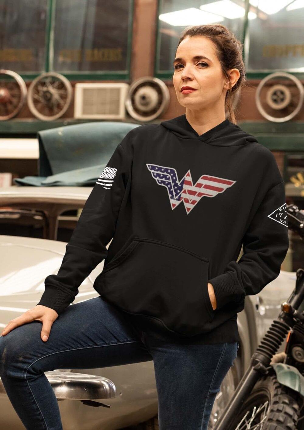 Wonder Woman on black women's hoodie
