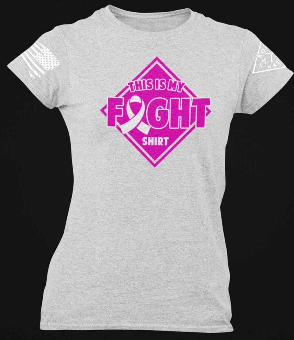Breast Cancer Awareness Fight Shirt on a Light Heather Grey T-Shirt