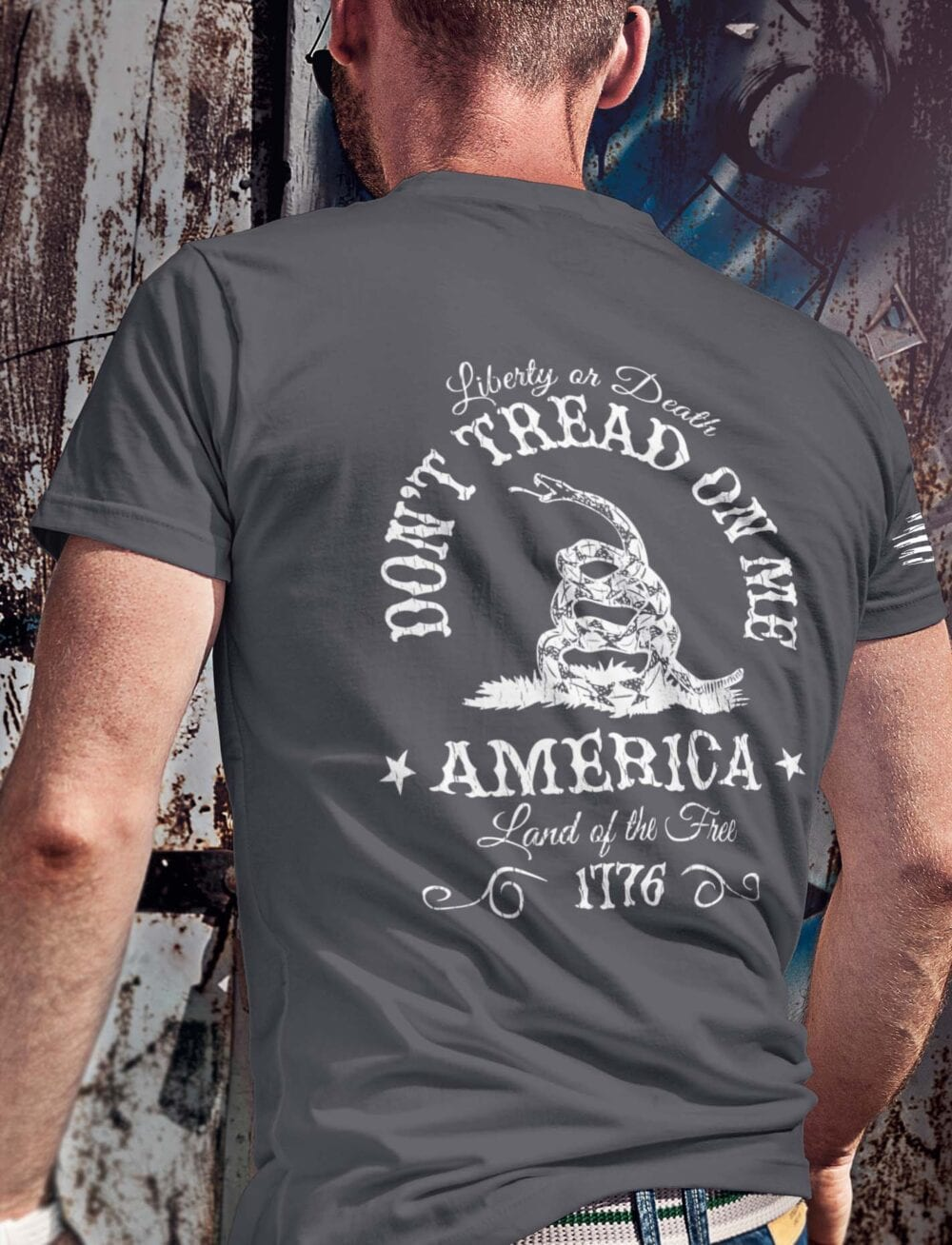 Don't Tread On Me on Men's Charcoal Grey T-Shirt