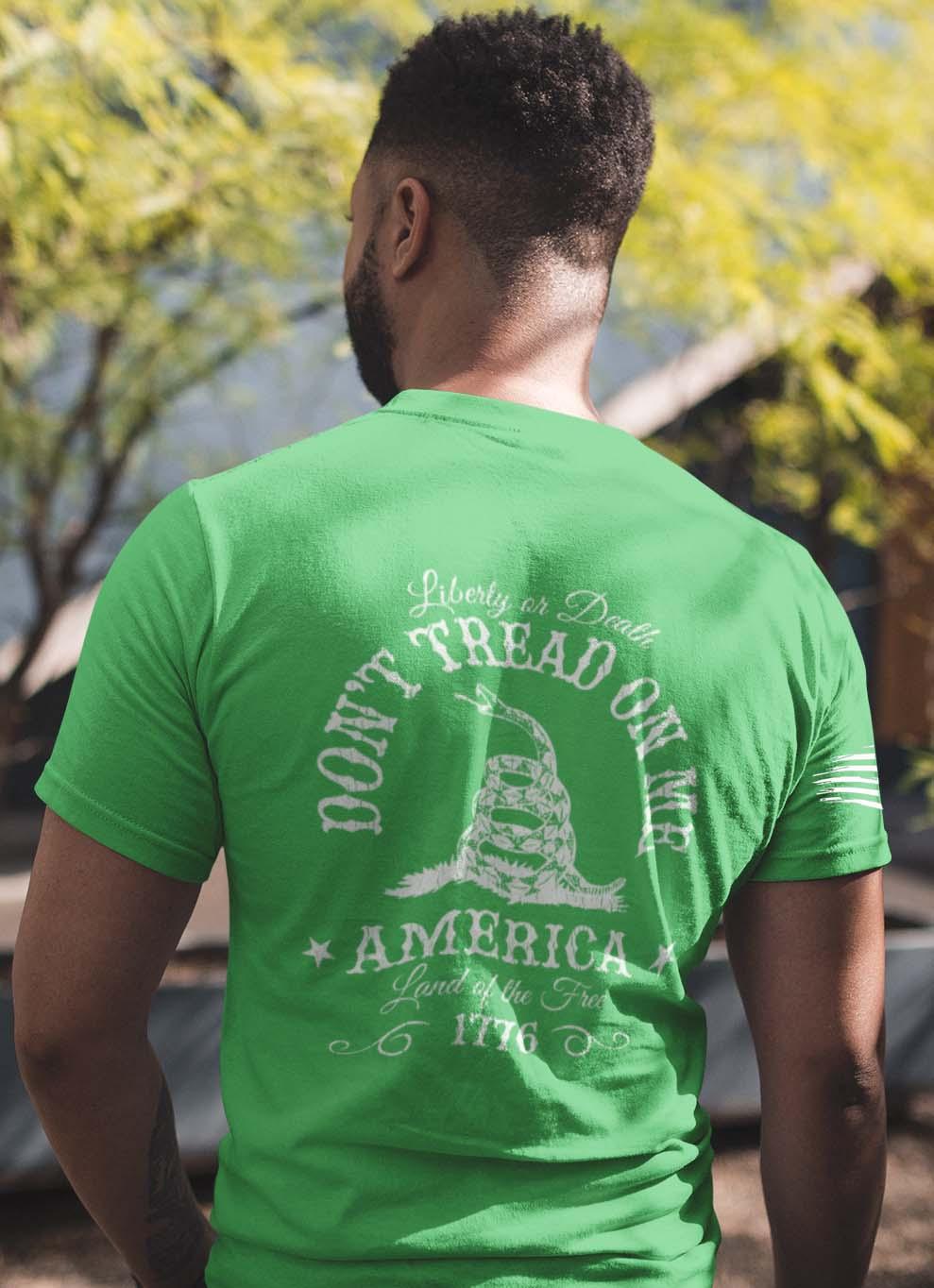 Don't Tread on Me on Men's Green T-Shirt