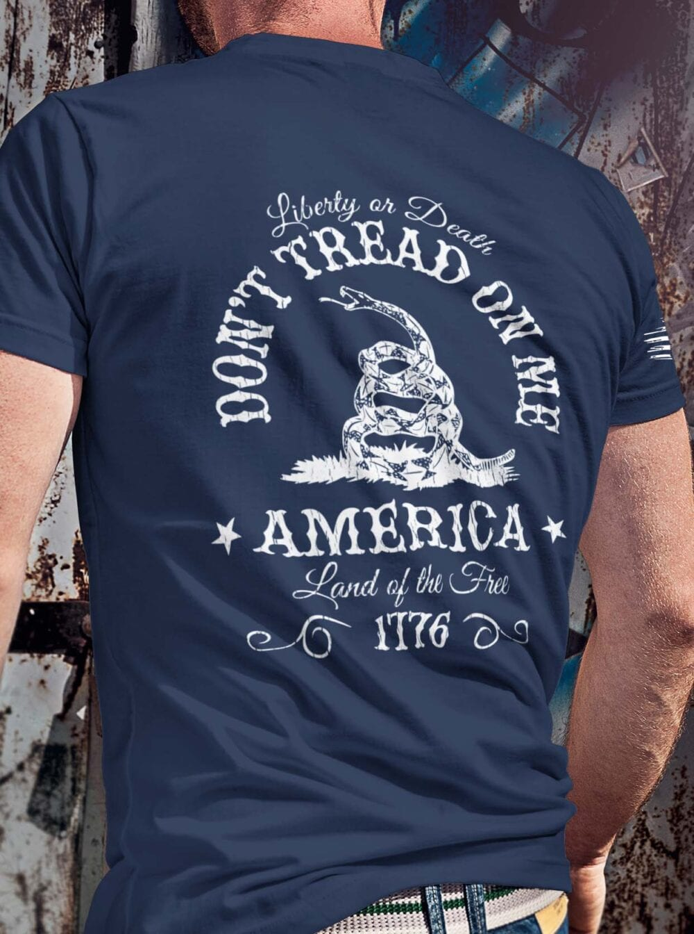 Don't Tread On Me on a Men's Navy Blue Shirt