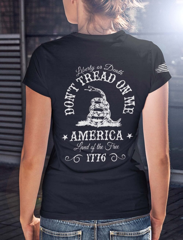 Don' Tread on me on a women's Black T-Shirt
