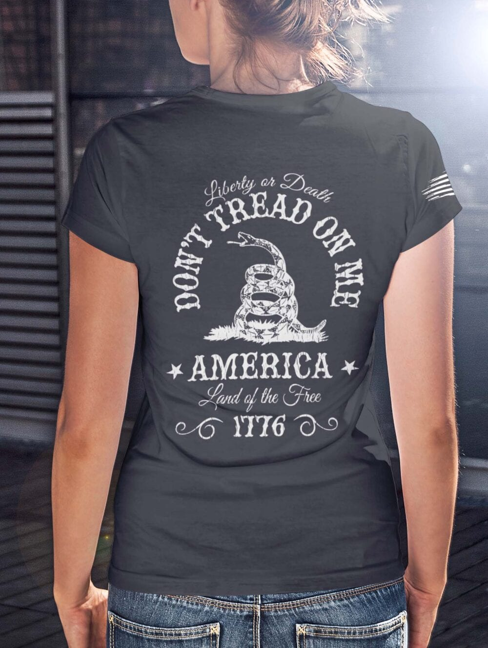 Don't Tread on me on a women's Charcoal T-Shirt