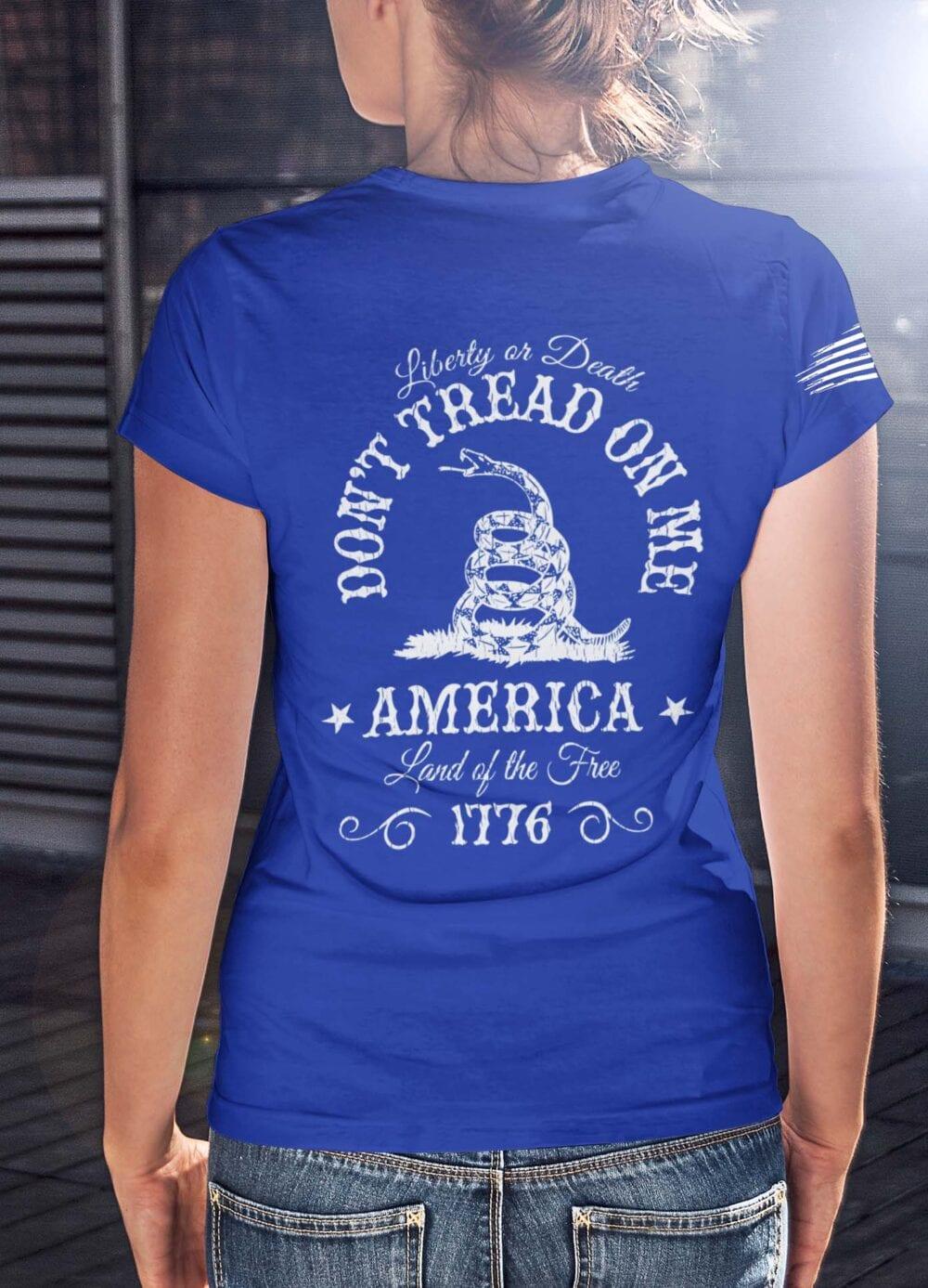 Don't Tread On me on Women's Royal Blue Shirt