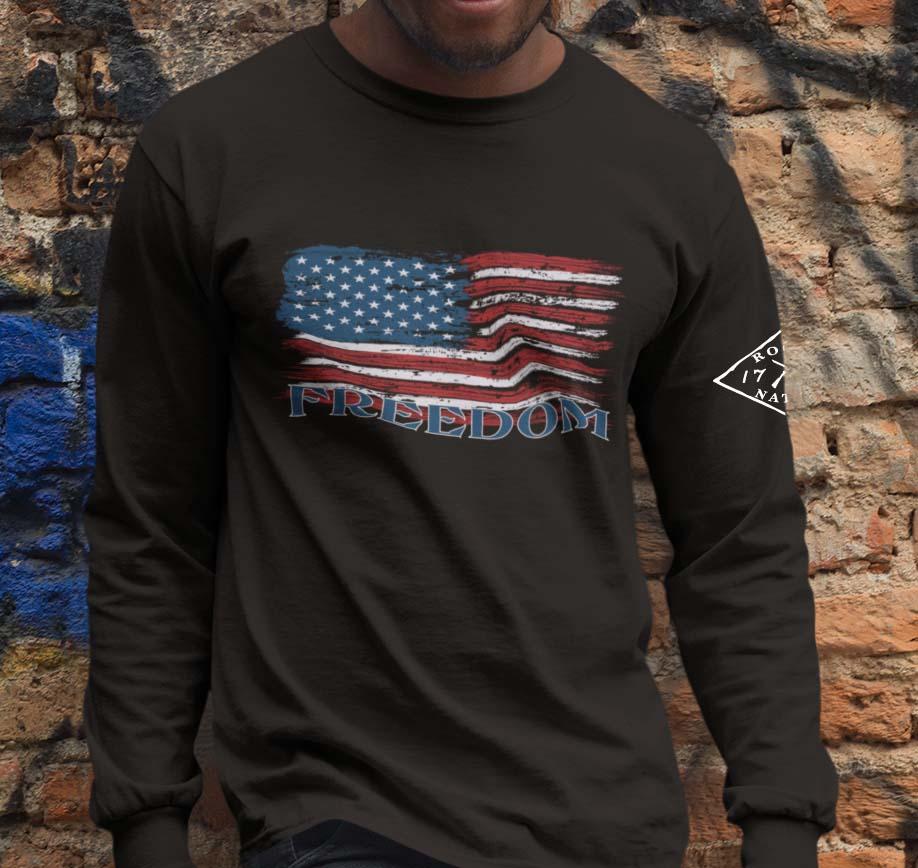 Freedom Flag on Black Long Sleeve T-Shirt