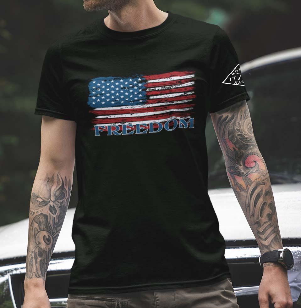 Freedom Flag on Black Men's T-Shirt