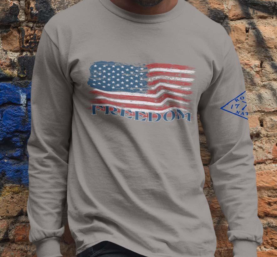 Freedom Flag on Light Heather Grey Long Sleeve T-Shirt