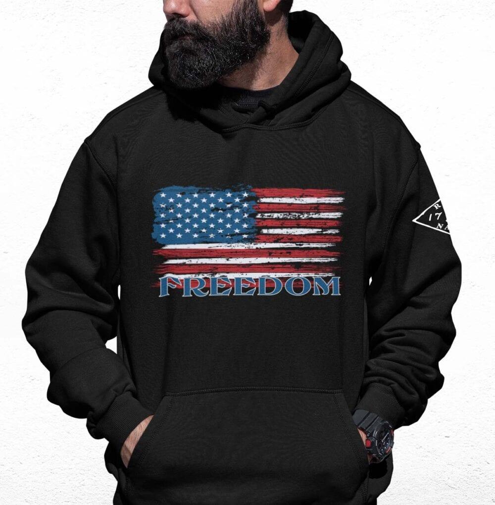 Freedom Flag on Black men's Hoodie