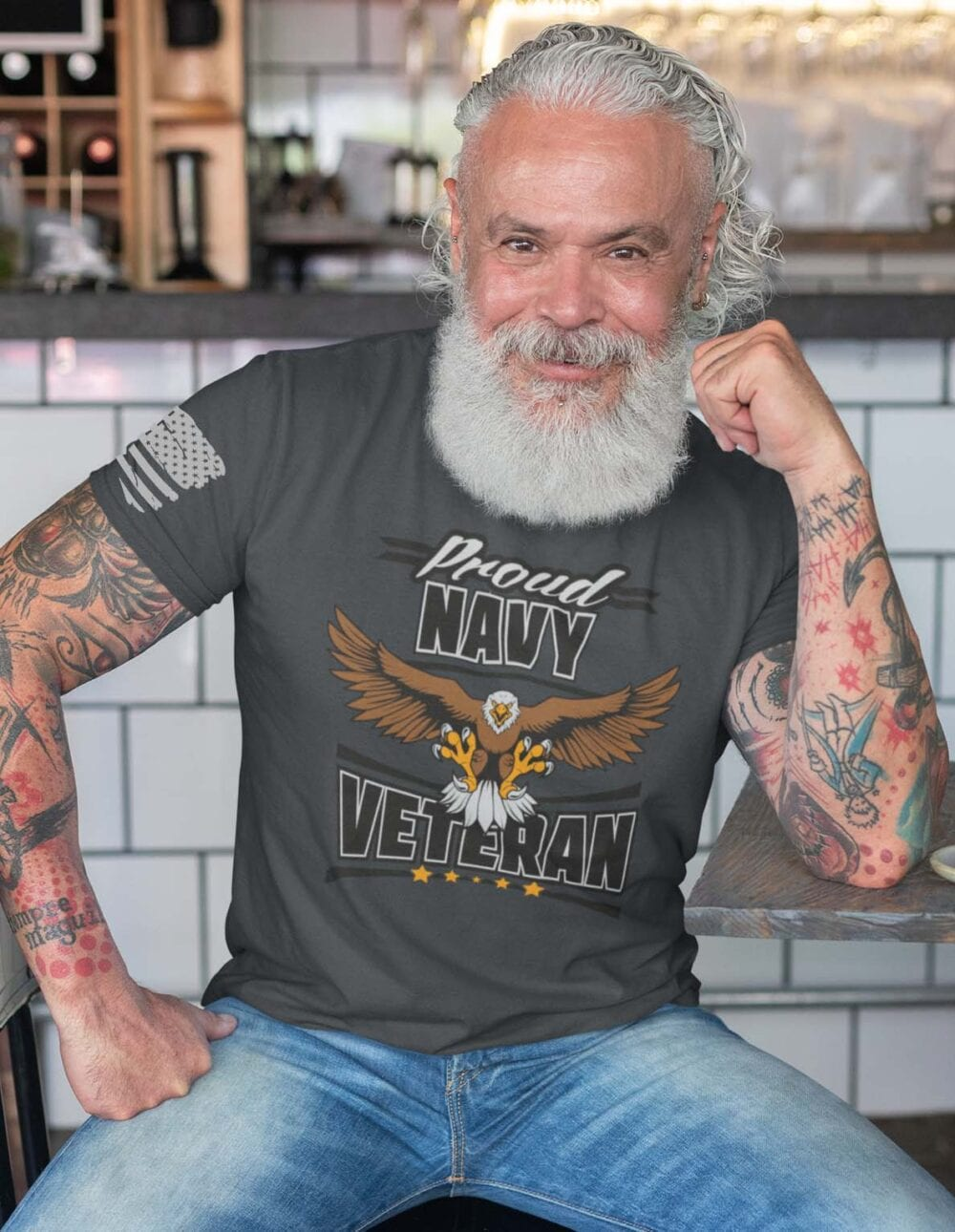 Navy Veteran On Men's Charcoal T-Shirt