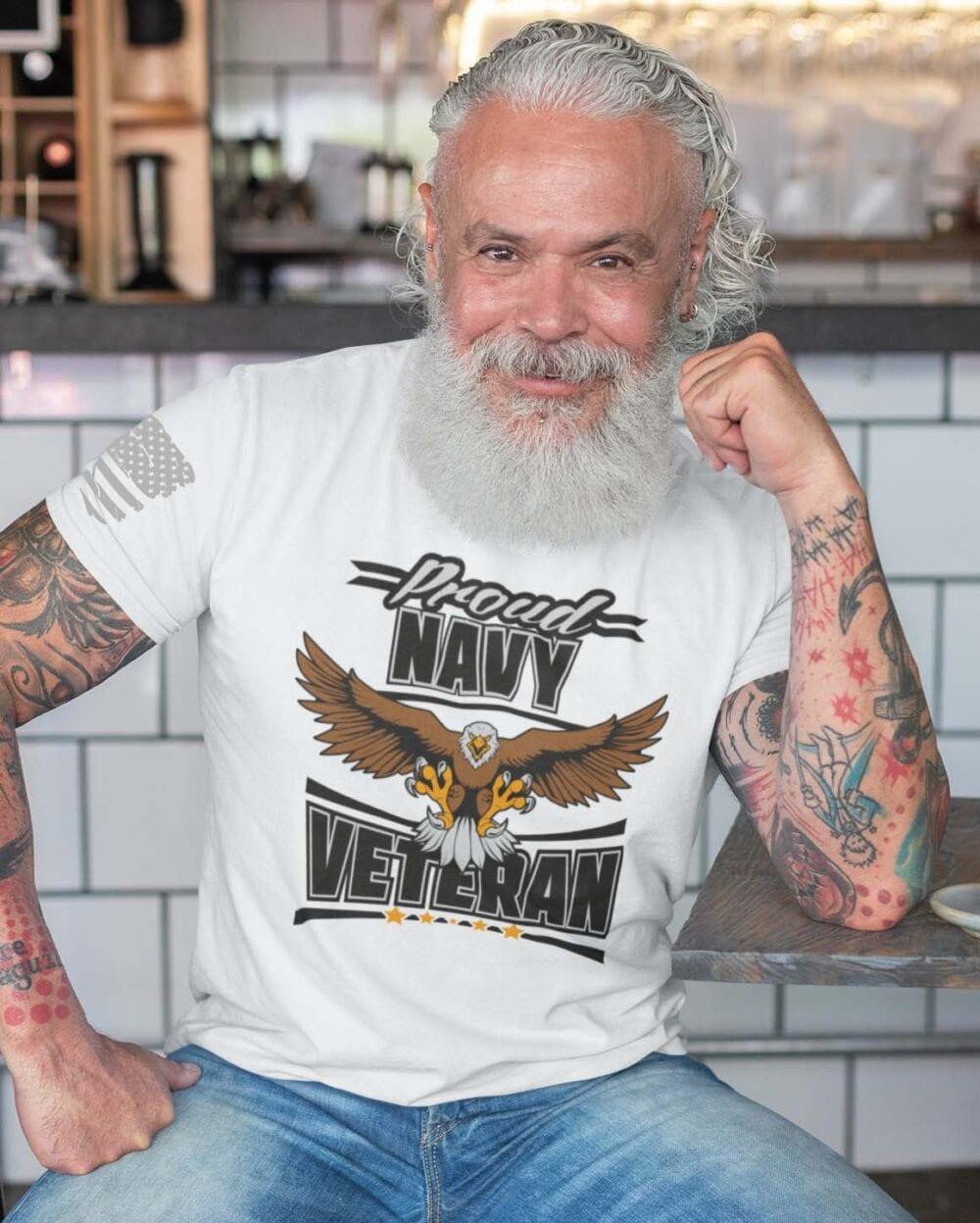 Navy Veteran on Men's White T-Shirt