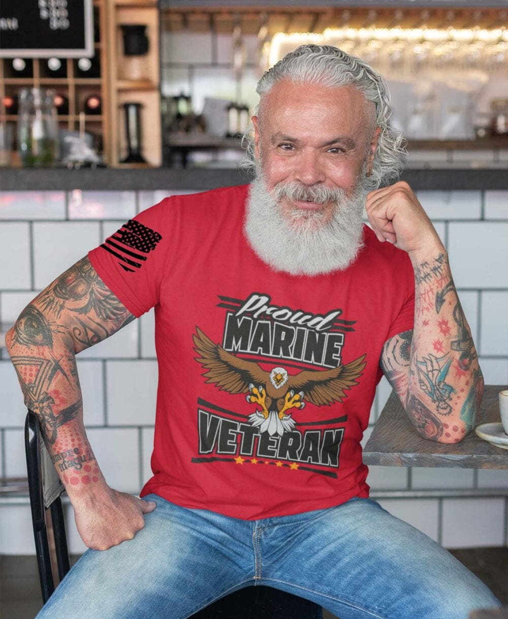 Marine Veteran on Men's Red Tshirt