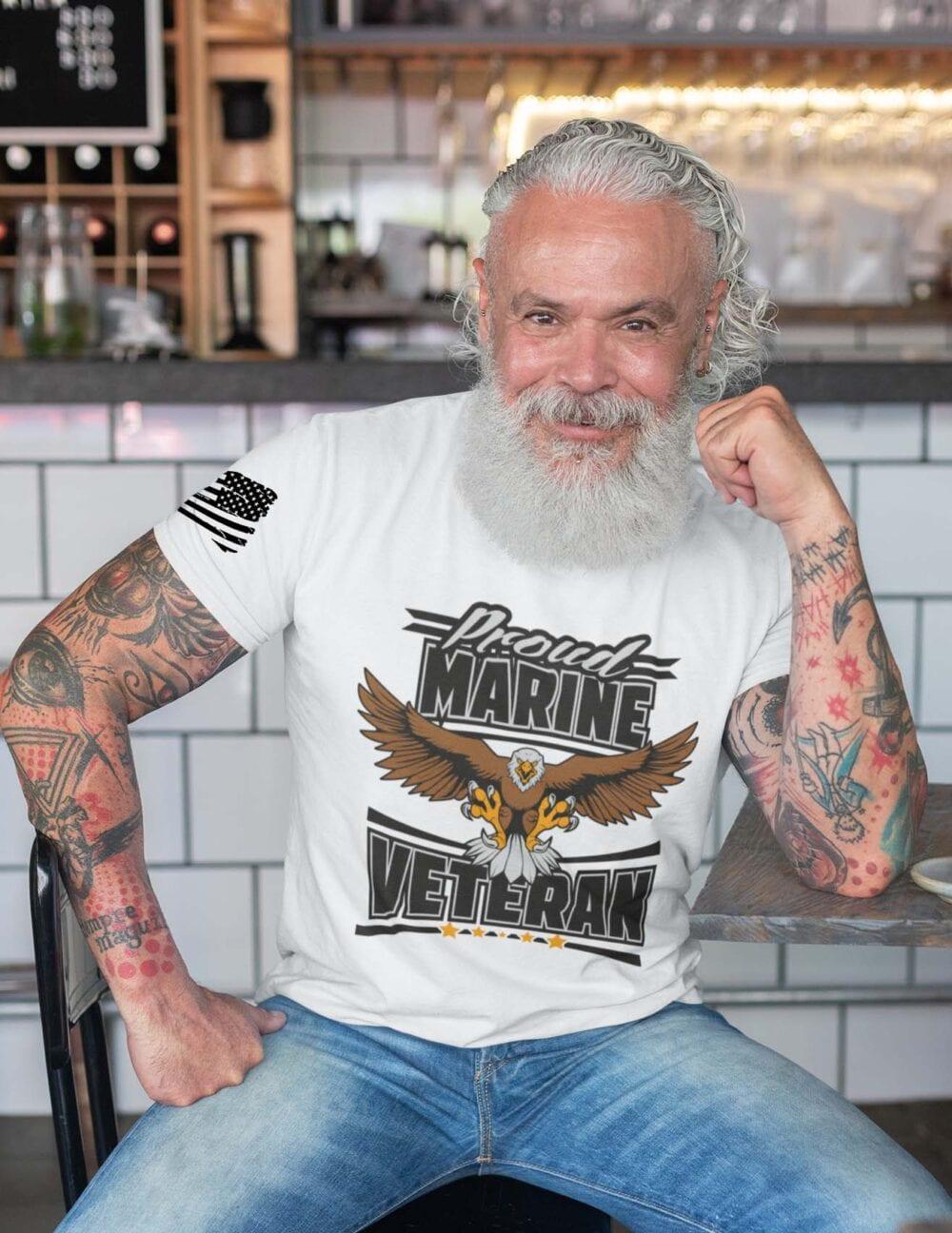 Marine Veteran on Men's White Tshirt