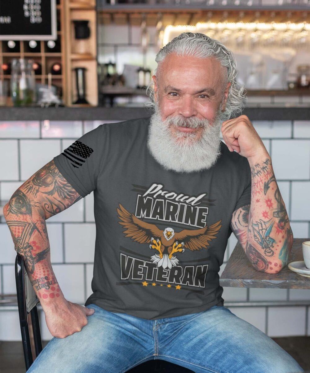 Marine Veteran on Men's Charcoal Shirt