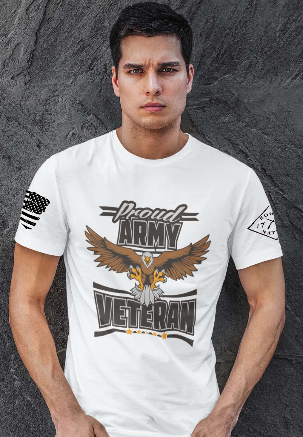 Army Veteran on Men's White Shirt