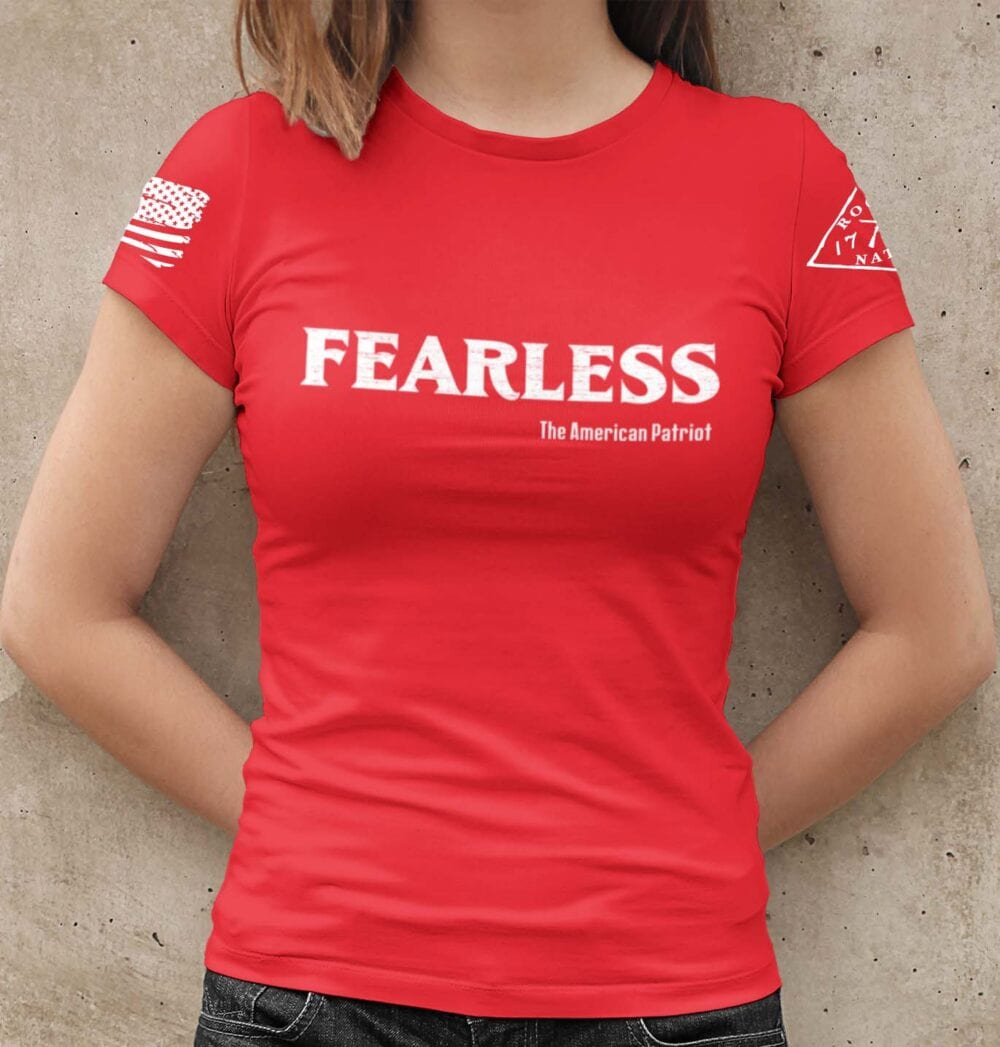 Fearless Patriot on a Women's Red tshirt