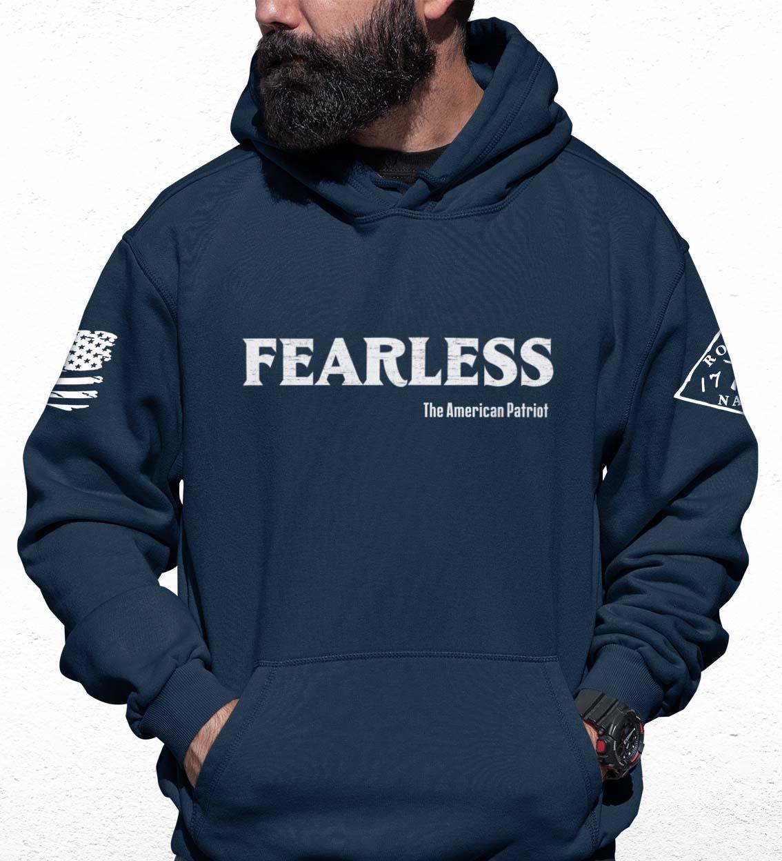 Fearless Patriot on Men's Navy Blue Hoodie