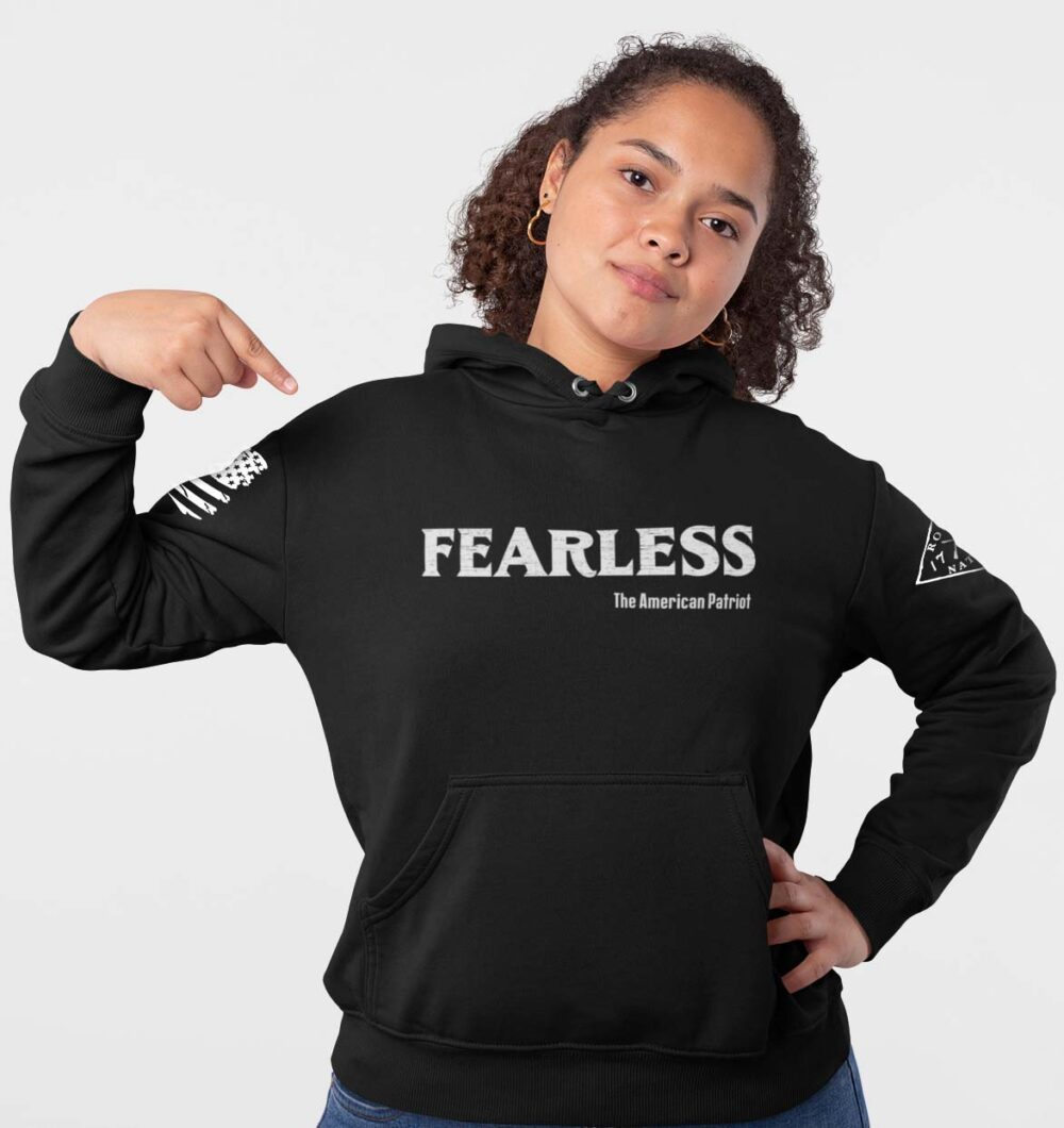 Fearless Patriot on Women's Black Hoodie