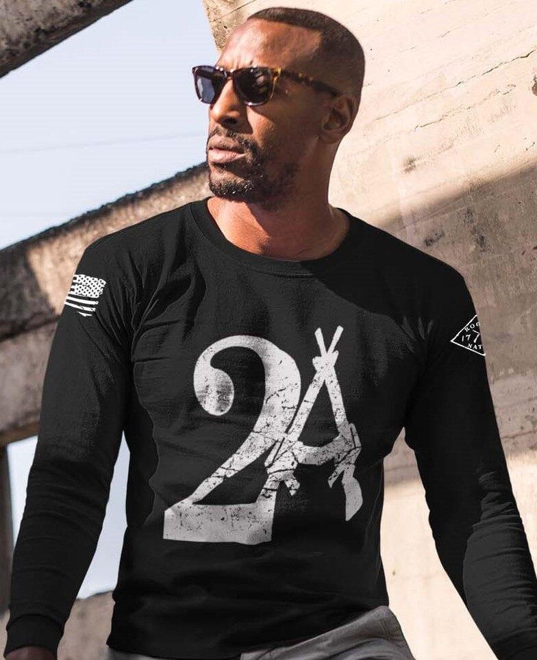 2A on a long sleeve black shirt