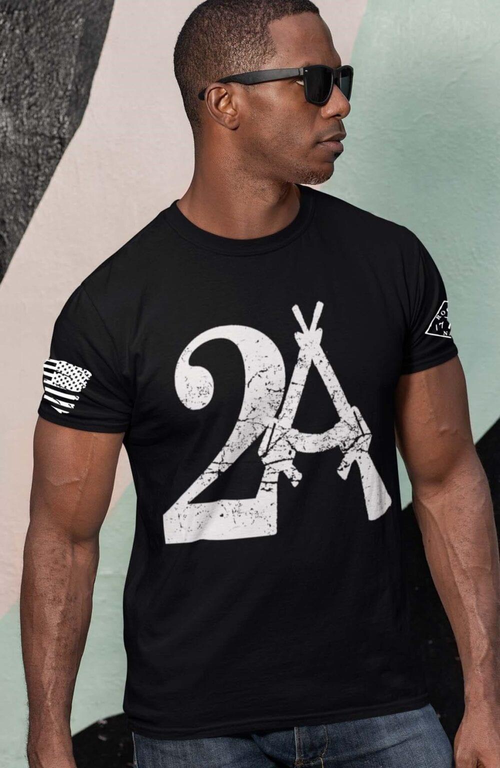 2A on Mens Black T-Shirt