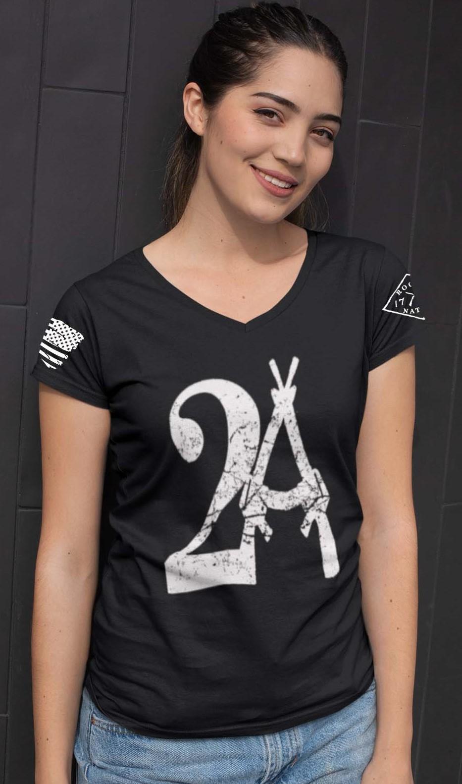 2A on a Black V-Neck T-shirt
