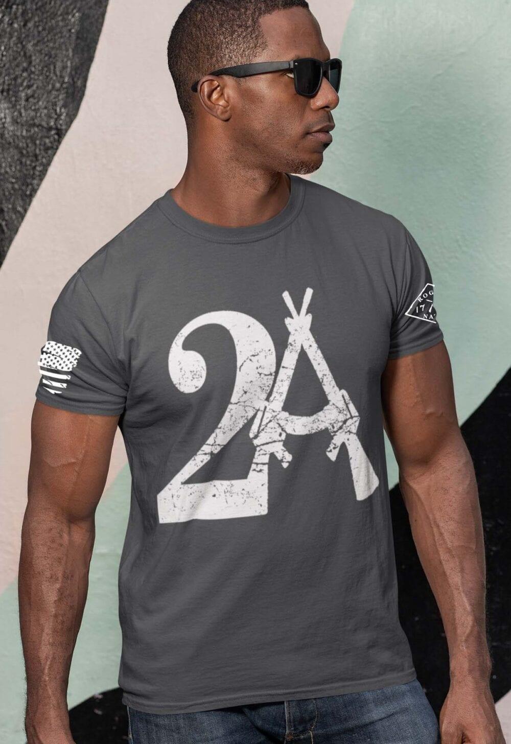 2A on Mens Charcoal T-Shirt