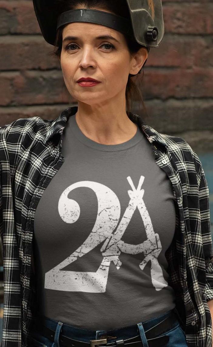 2A on a Charcoal Women's T-shirt