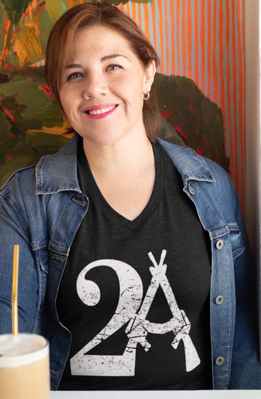 2A on a Heather Black V-Neck T-Shirt