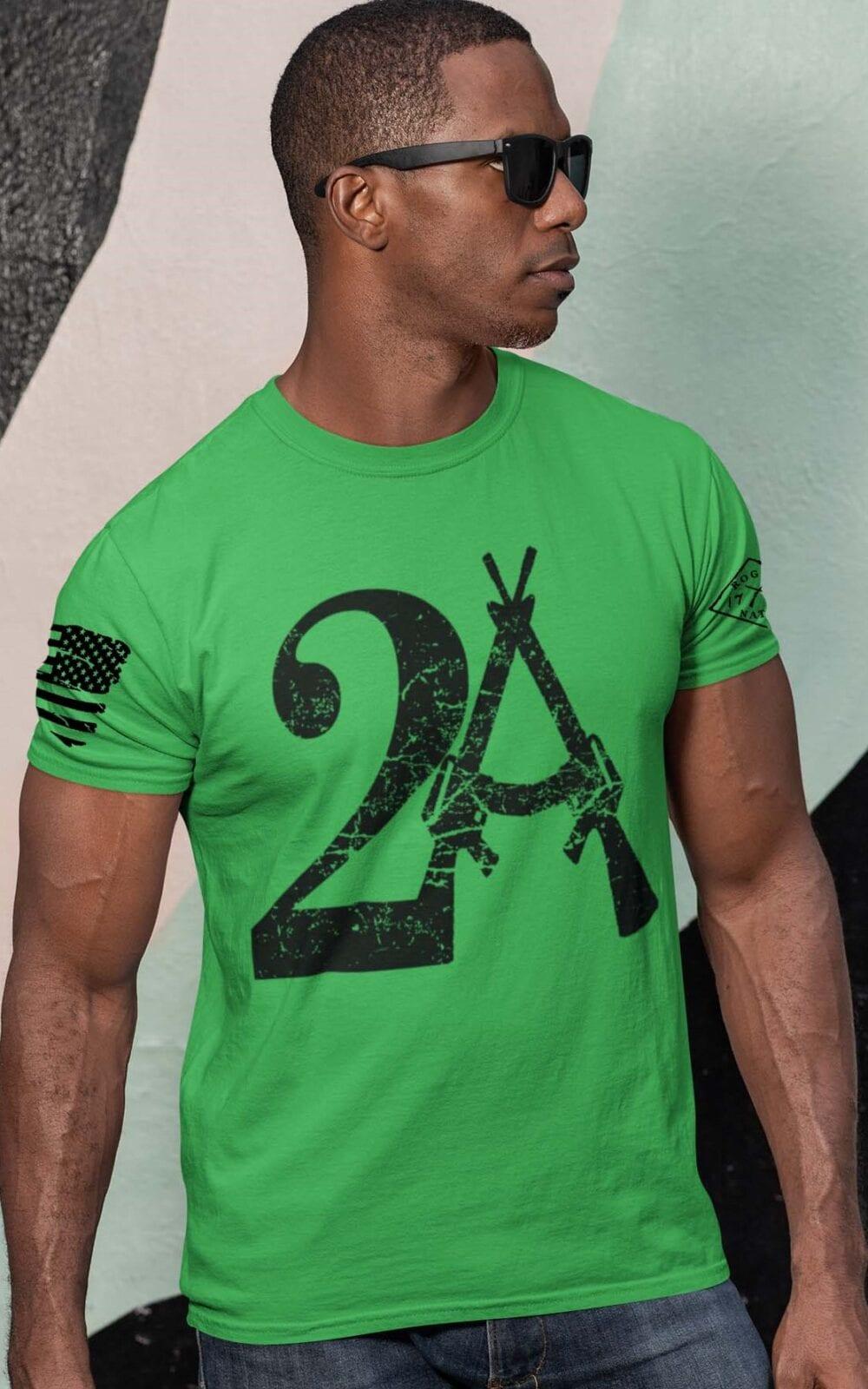2A on Mens Green T-Shirt