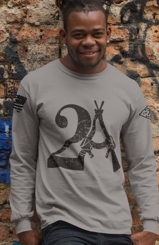 2A on a long sleeve Light Heather grey shirt