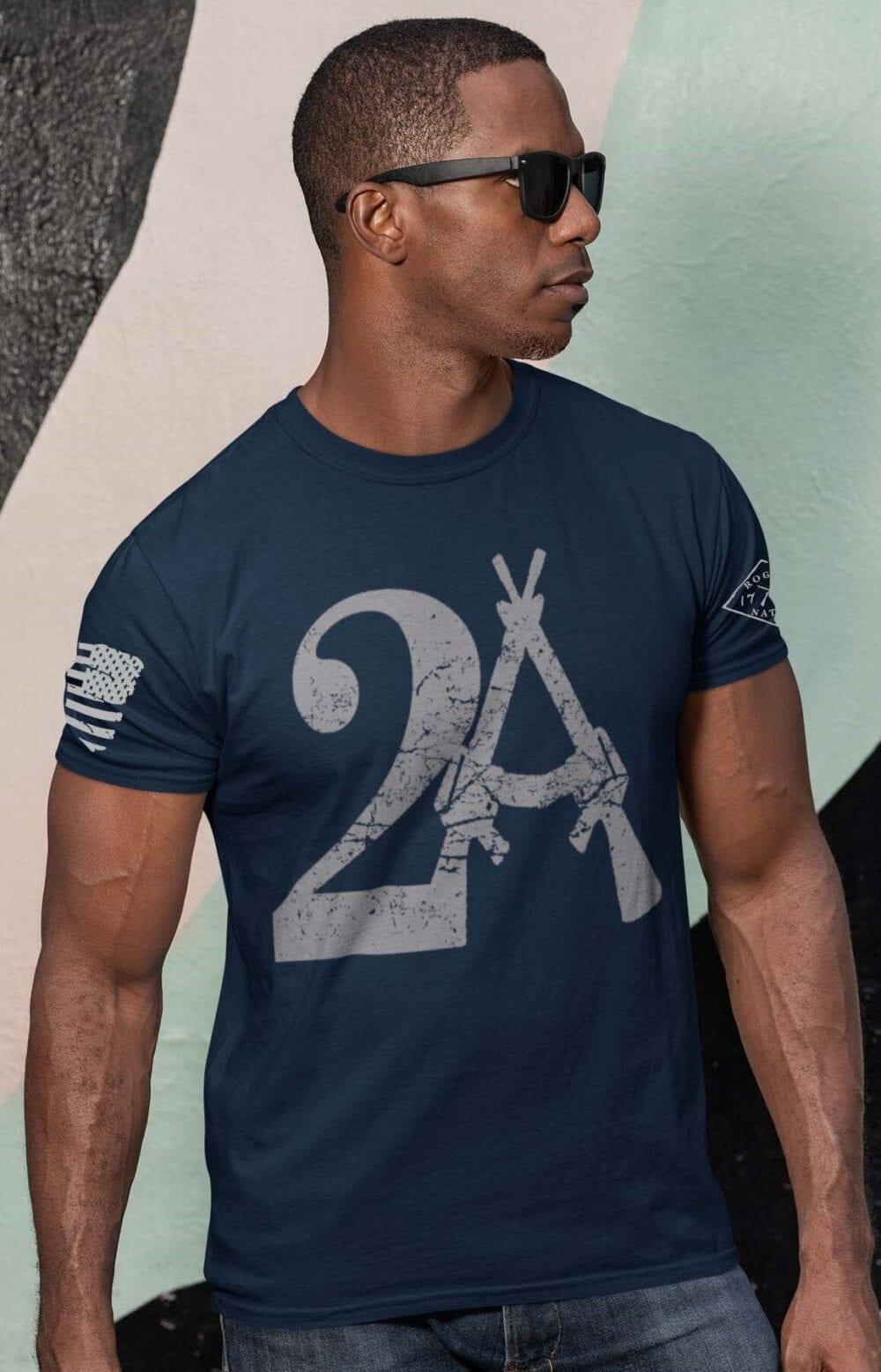 2A on Mens Navy Blue T-Shirt