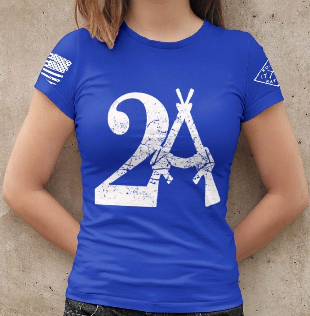 2A on a Royal Blue Women's T-shirt