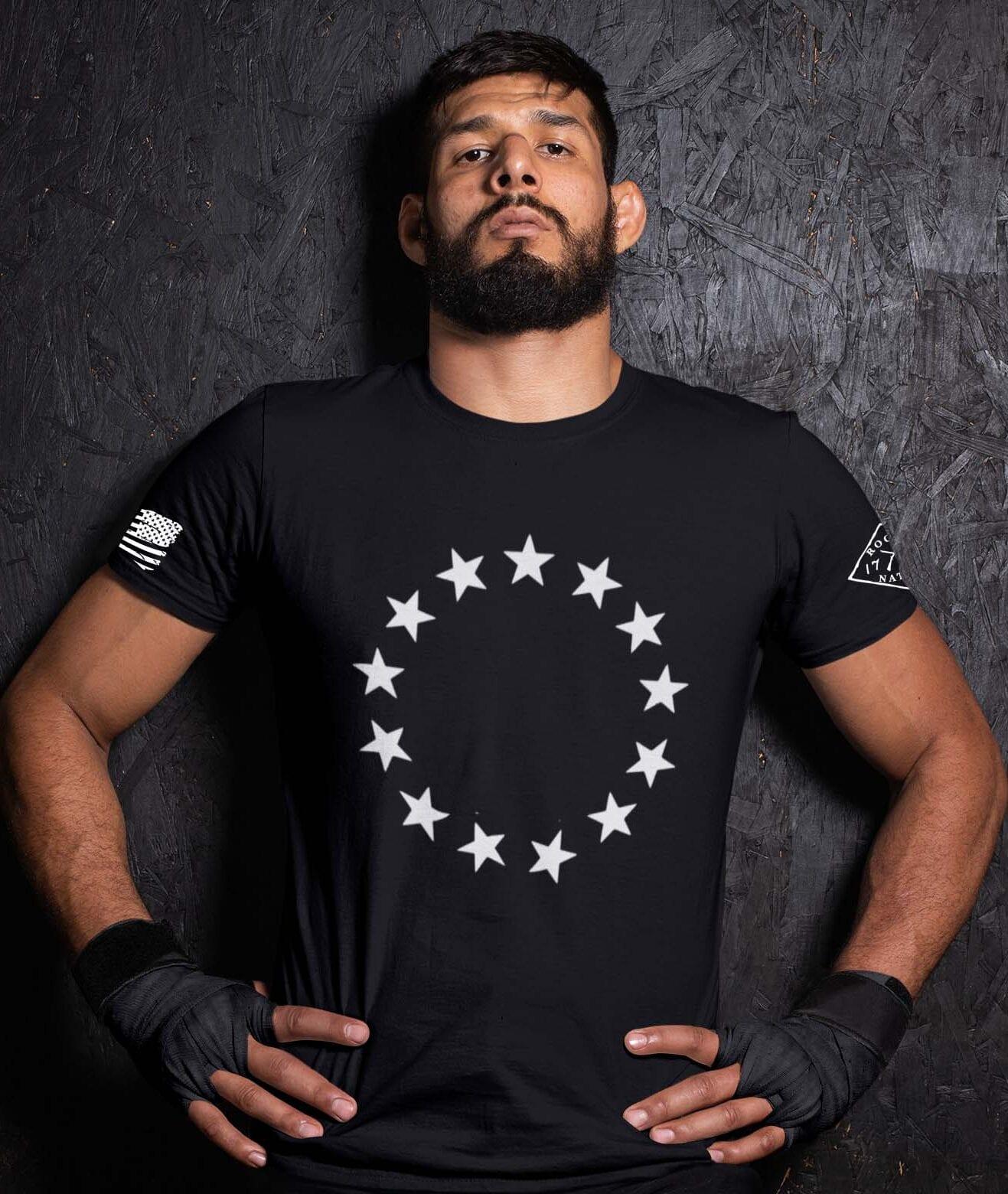 Betsy Stars on a Men's black t-shirt