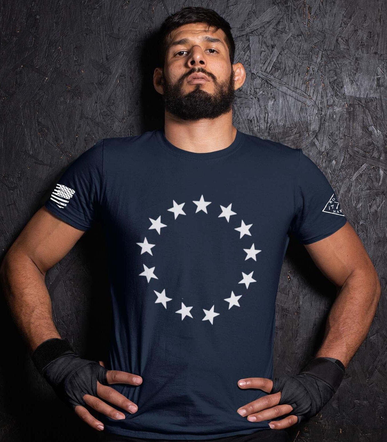 Betsy Stars on Navy Blue Men's T-Shirt