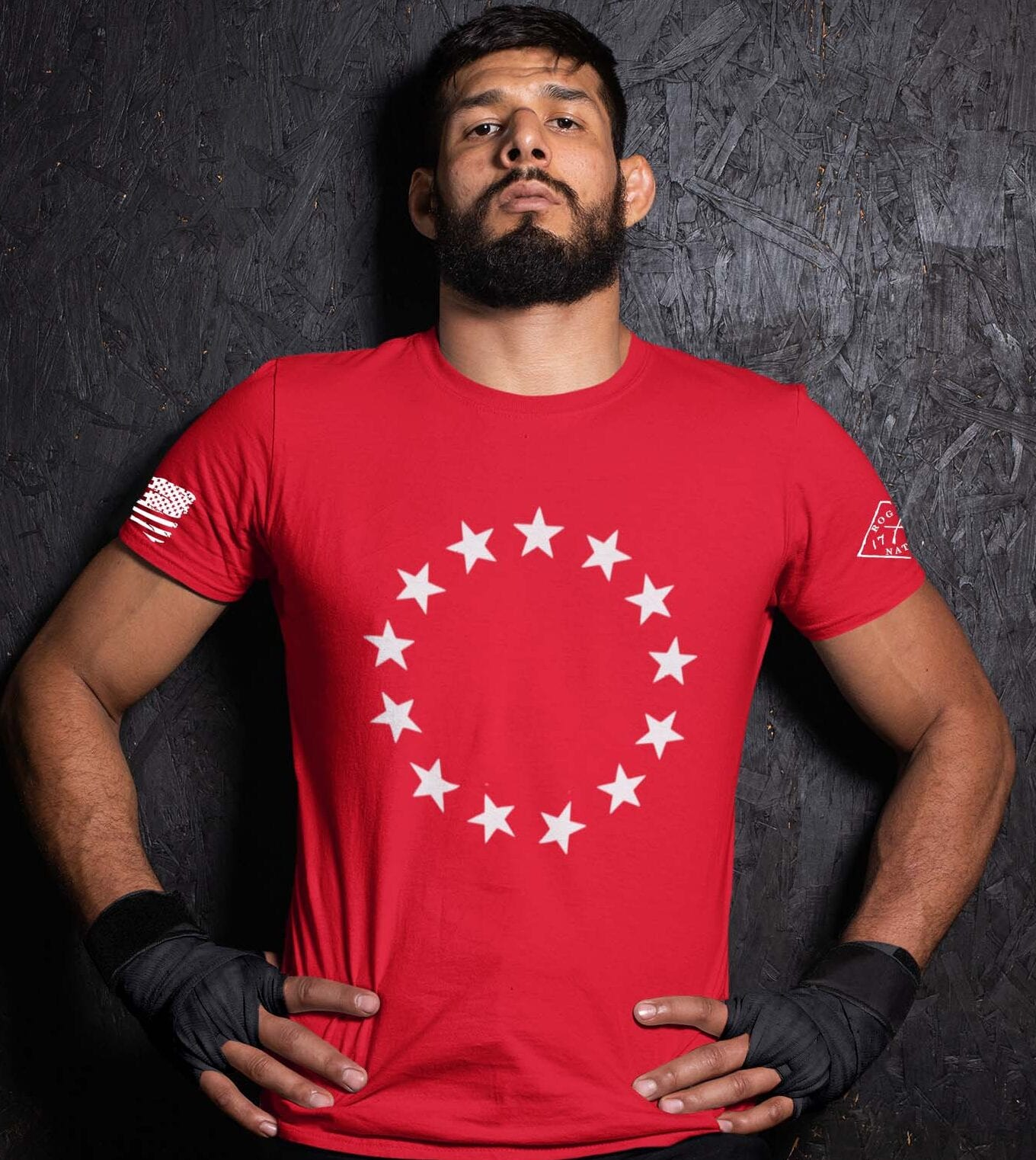 Betsy Stars on a Mens Red t-shirt