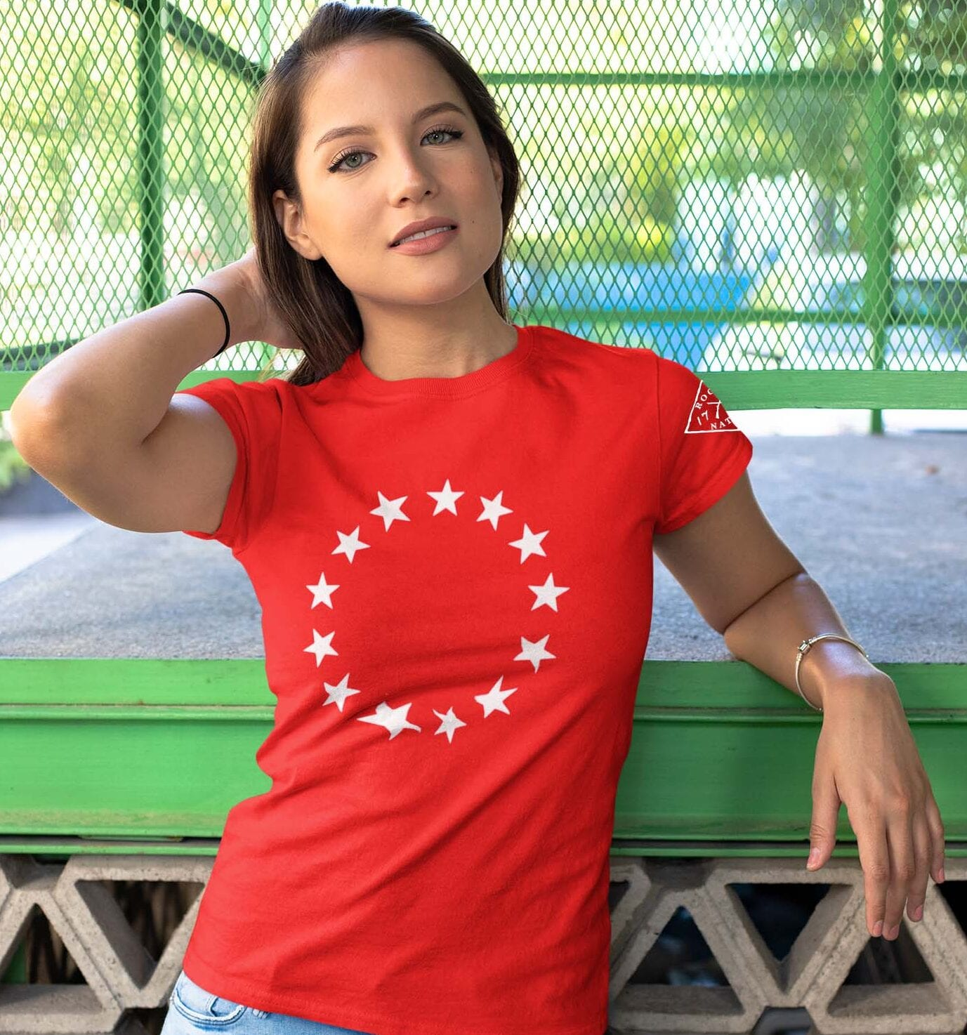 Betsy Stars on a women's Red t-shirt