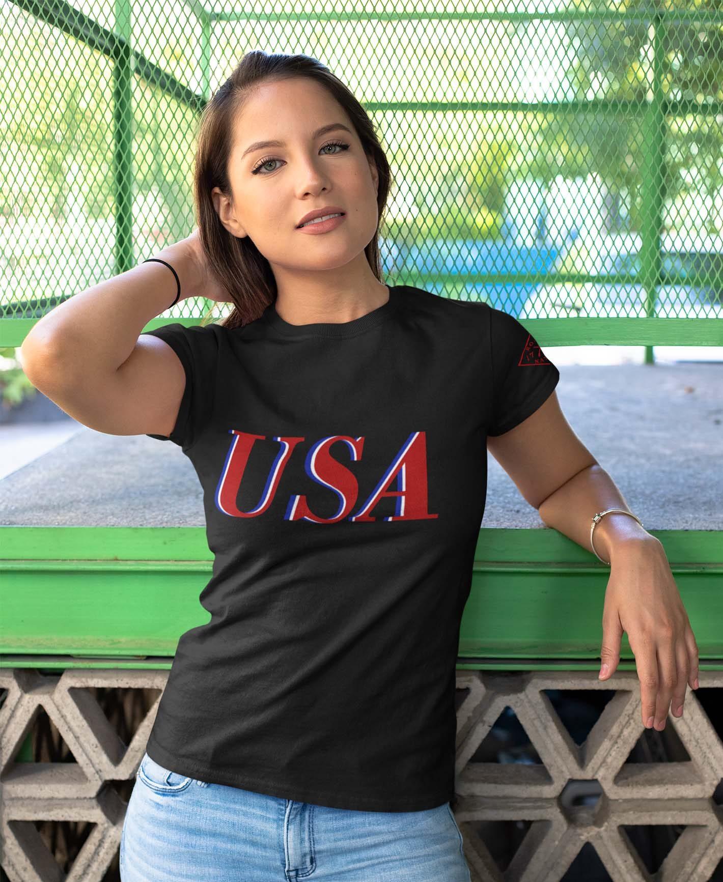 USA Red White & Blue on Women's Black T-Shirt