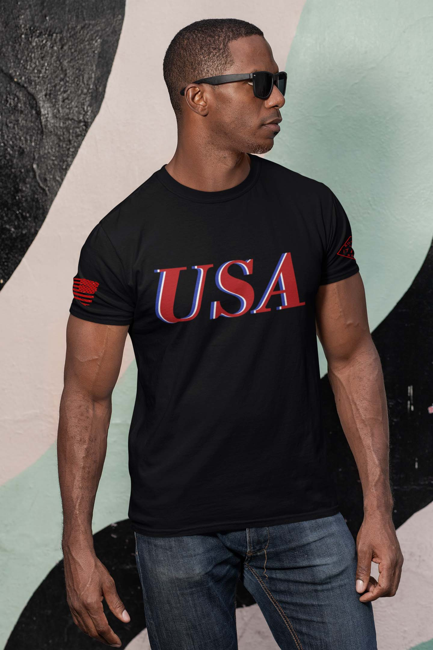 USA Red White & Blue on Men's Black T-Shirt