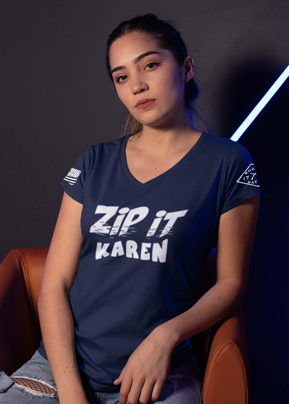 Zip It Karen in a Navy Blue Women's V-Neck