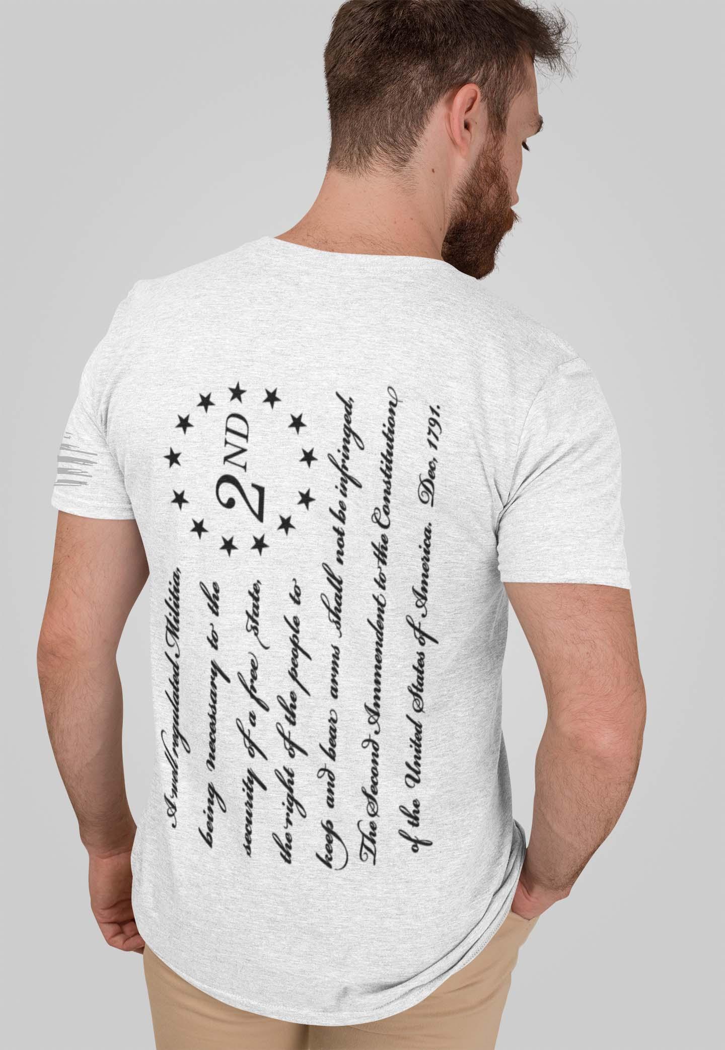2nd Amendment on a mens light heather gray tshirt