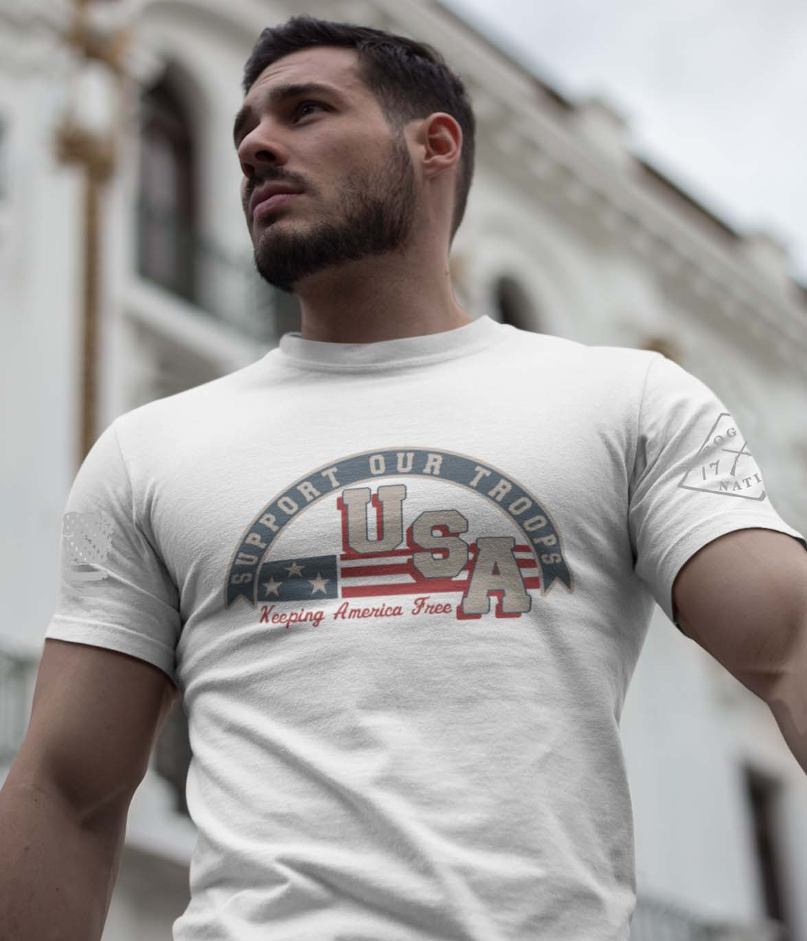 Support Our Troops on a Men's White T-Shirt