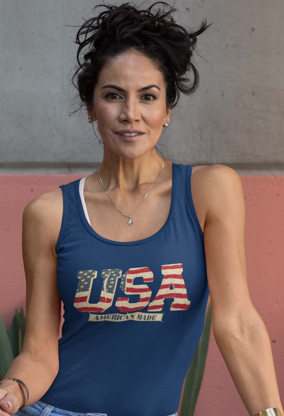Vintage USA on a Women's Red Core Tank