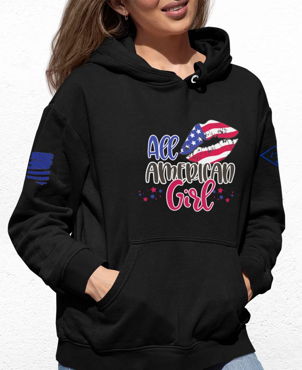 All American Girl on a black hoodie