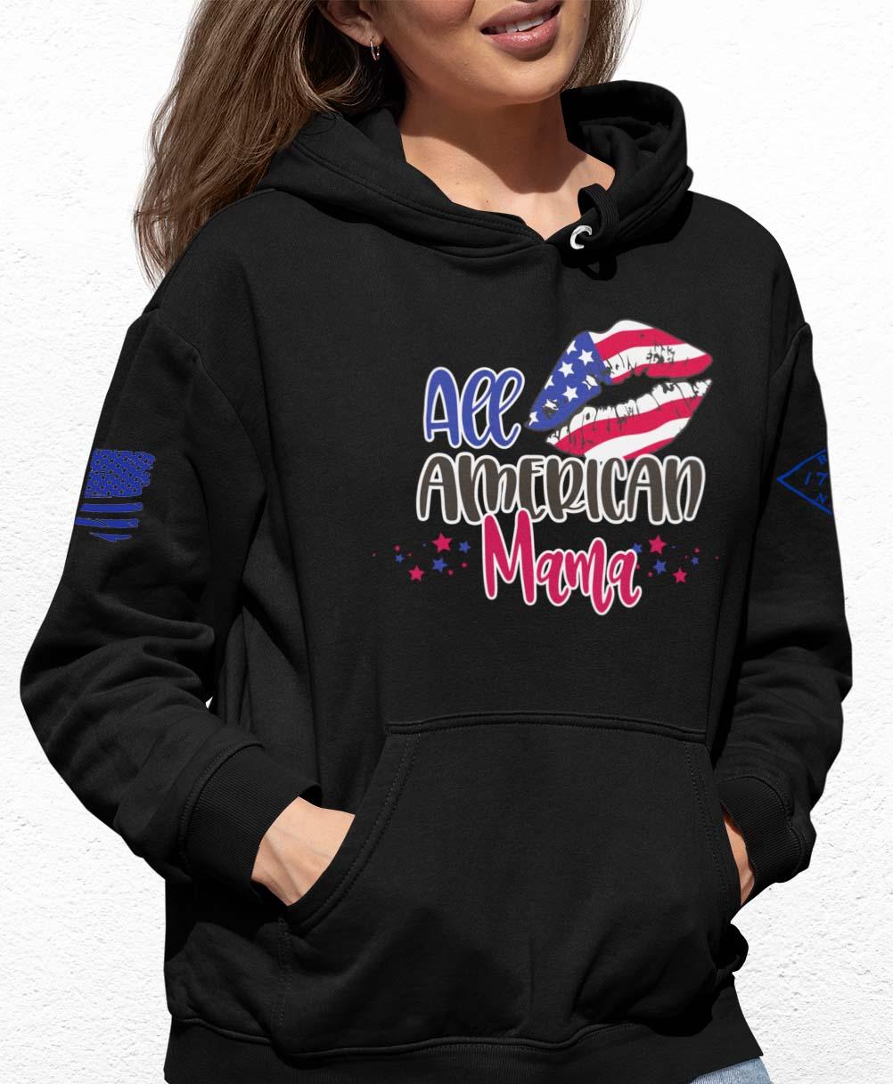All American Mama on a Black hoodie